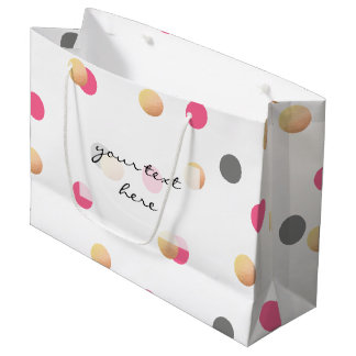 elegant chick faux gold grey pink confetti dots large gift bag