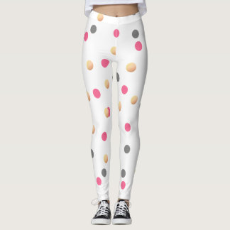 elegant chick faux gold grey pink confetti dots leggings