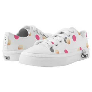 elegant chick faux gold grey pink confetti dots low tops
