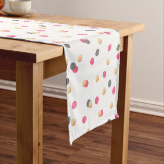 elegant chick faux gold grey pink confetti dots short table runner