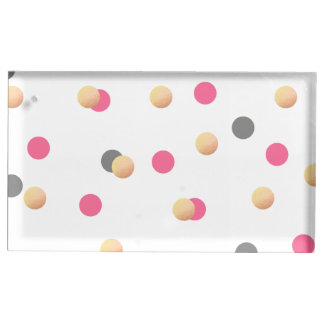 elegant chick faux gold grey pink confetti dots table card holder