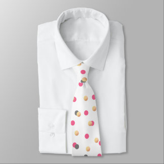 elegant chick faux gold grey pink confetti dots tie