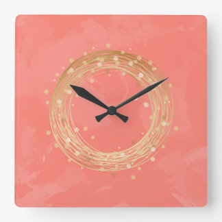 elegant chick faux gold wreath pink brushstrokes square wall clock