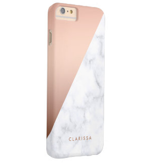 elegant chick geometric white marble rose gold barely there iPhone 6 plus case