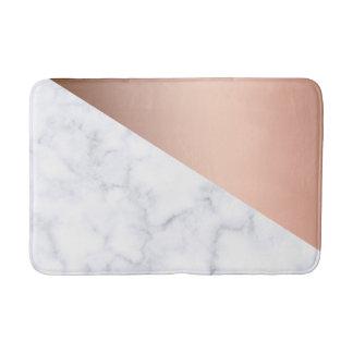 elegant chick geometric white marble rose gold bath mat