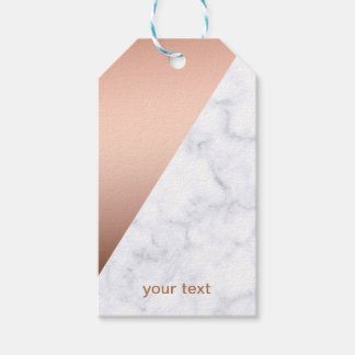 elegant chick geometric white marble rose gold gift tags