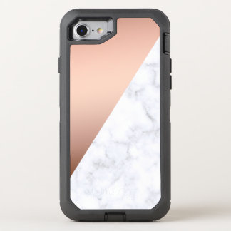 elegant chick geometric white marble rose gold OtterBox defender iPhone 8/7 case