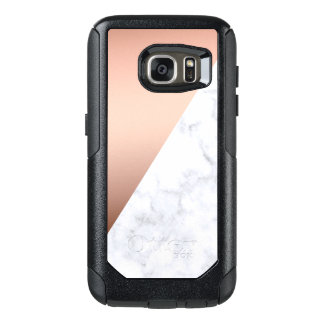 elegant chick geometric white marble rose gold OtterBox samsung galaxy s7 case