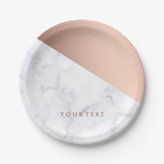 elegant chick geometric white marble rose gold paper plate