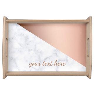 elegant chick geometric white marble rose gold serving tray