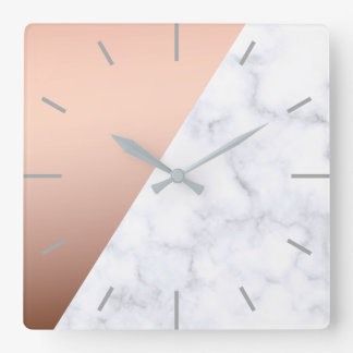 elegant chick geometric white marble rose gold square wall clock