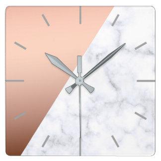 elegant chick geometric white marble rose gold square wall clock