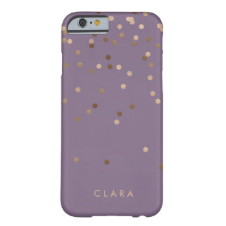 elegant chick glam rose gold confetti dots violet barely there iPhone 6 case
