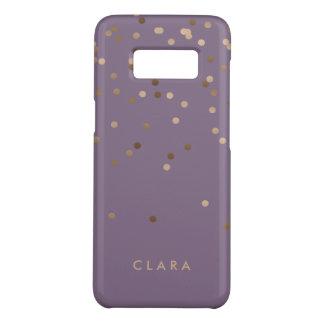 elegant chick glam rose gold confetti dots violet Case-Mate samsung galaxy s8 case