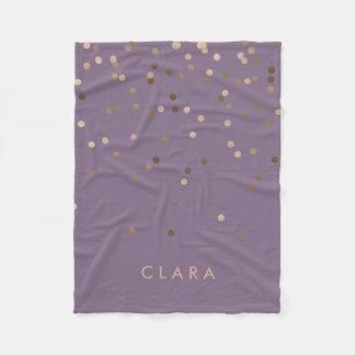 elegant chick glam rose gold confetti dots violet fleece blanket
