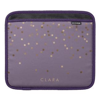 elegant chick glam rose gold confetti dots violet iPad sleeve