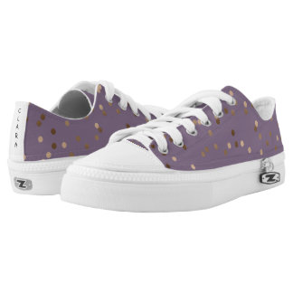 elegant chick glam rose gold confetti dots violet low tops