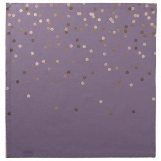 elegant chick glam rose gold confetti dots violet napkin
