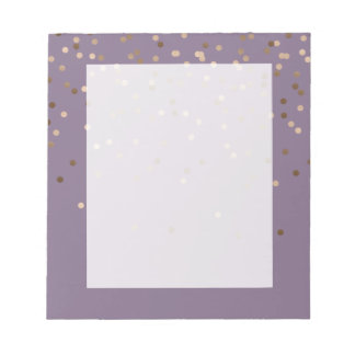 elegant chick glam rose gold confetti dots violet notepad