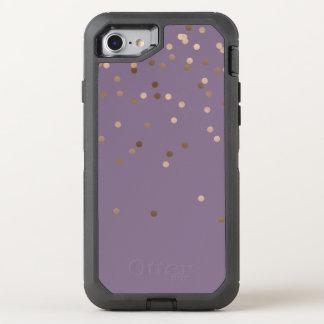 elegant chick glam rose gold confetti dots violet OtterBox defender iPhone 8/7 case