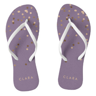 elegant chick glam rose gold confetti dots violet thongs