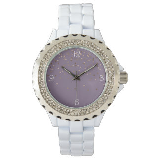 elegant chick glam rose gold confetti dots violet watch