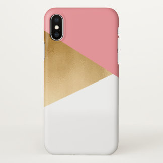 elegant chick modern faux gold pink geometric iPhone x case
