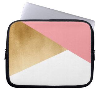 elegant chick modern faux gold pink geometric laptop sleeve