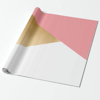 elegant chick modern faux gold pink geometric wrapping paper