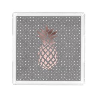 elegant chick rose gold foil pineapple polka dots acrylic tray