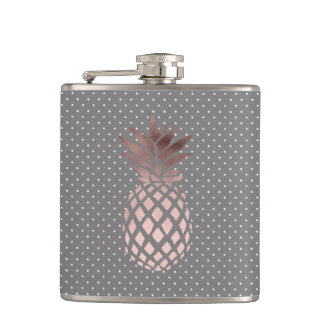elegant chick rose gold pineapple polka dots hip flask