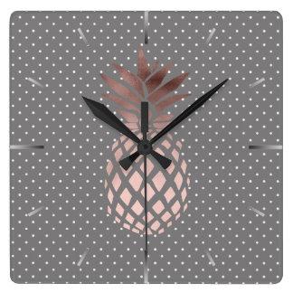 elegant chick rose gold pineapple polka dots square wall clock