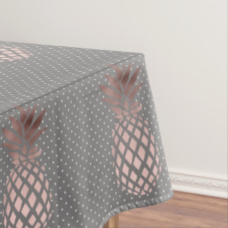 elegant chick rose gold pineapple polka dots tablecloth