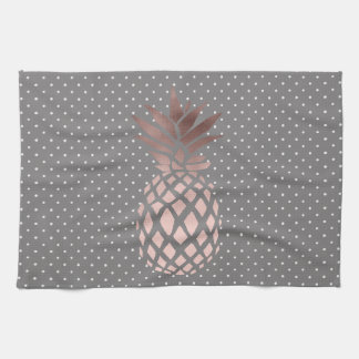 elegant chick rose gold pineapple polka dots tea towel