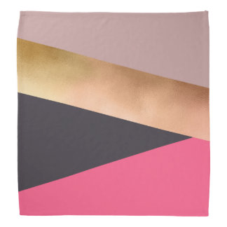elegant chick rose gold pink grey color block bandana