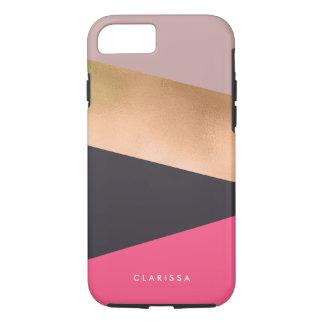 elegant chick rose gold pink grey color block iPhone 8/7 case