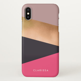 elegant chick rose gold pink grey color block iPhone x case
