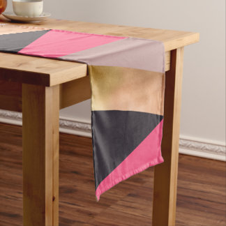 elegant chick rose gold pink grey color block short table runner