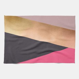 elegant chick rose gold pink grey color block tea towel