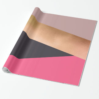 elegant chick rose gold pink grey color block wrapping paper