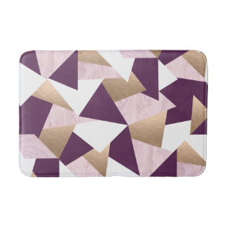 elegant chick rose gold pink marble geometric bath mat