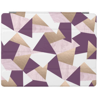 elegant chick rose gold pink marble geometric iPad cover