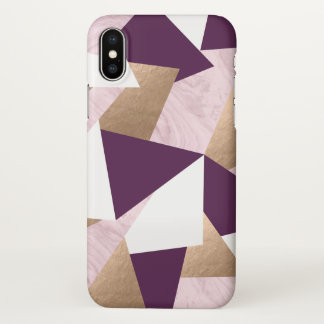 elegant chick rose gold pink marble geometric iPhone x case