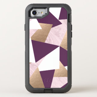 elegant chick rose gold pink marble geometric OtterBox defender iPhone 8/7 case