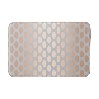 Elegant Chick Rose Gold Polka Dots Pattern Grey Bath Mat