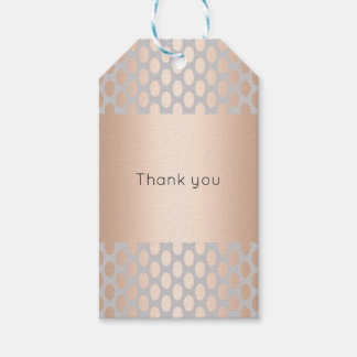 Elegant Chick Rose Gold Polka Dots Pattern Grey Gift Tags