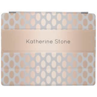 Elegant Chick Rose Gold Polka Dots Pattern Grey iPad Cover