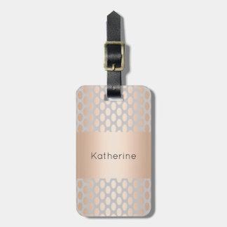 Elegant Chick Rose Gold Polka Dots Pattern Grey Luggage Tag