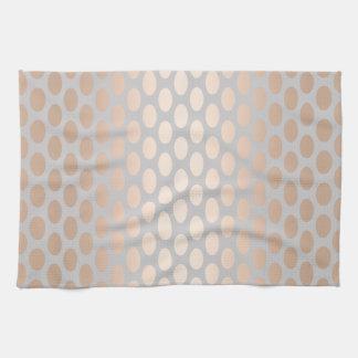 Elegant Chick Rose Gold Polka Dots Pattern Grey Tea Towel