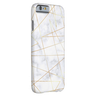 elegant chick white marble faux gold geometric barely there iPhone 6 case